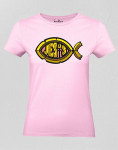 Christian Women T Shirt Jesus Fish Sign