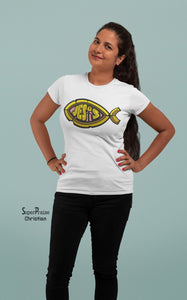 Christian Women T Shirt Jesus Fish Sign Ladies Tee
