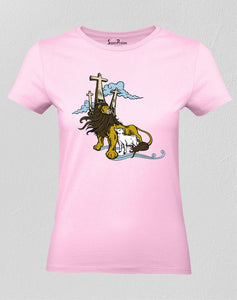 Christian Women T Shirt God Power Authority Pink tee