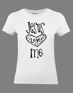 Christian Women T Shirt Jesus Loves Big Heart