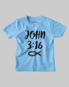 John 3:16 Christian Fish Sign Faith Jesus Grace Bible Verse Kids T Shirt