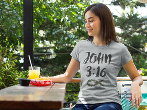 Christian Women T Shirt Bible Verse John 3:16 Fish Sign Grey tee