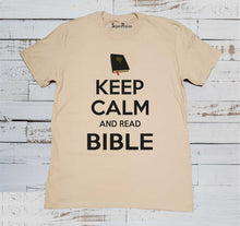 Keep Calm And Read Bible Beige T Shirt