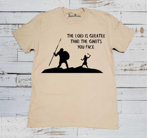 Lord Is Greater than All Christian Beige T Shirt