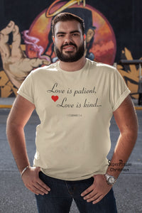 Men Christian T Shirt Love Is Patient Slogan - Super Praise Christian