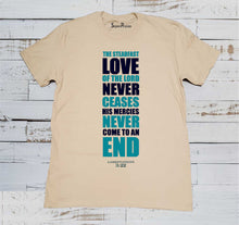Love Never Ceases Christian Beige T Shirt