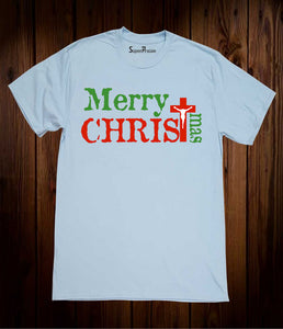 Merry Christimas Jesus Christ Cross Holiday Slogan Seasonal Men Sky Blue T-shirt