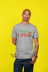 Merry Christimas Jesus Christ Cross Holiday Slogan Seasonal Men T-shirt - Super Praise Christian
