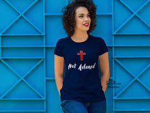 Christian Women T shirt Never Ashamed Christian Symbol Holy God Cross Navy tee