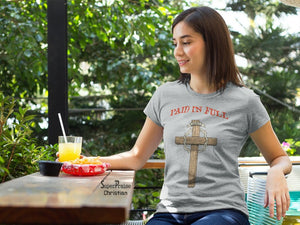 Christian Women T Shirt Paid In Full Jesus Grey tee