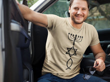Hanukkah Lamp Star of David Early Christian Fish Sign Christian T shirt - Super Praise Christian