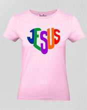 Christian Women T Shirt Jesus Rainbow Blessing