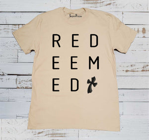 Redeemed Cross Christian Jesus Christ Beige T Shirt