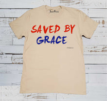 Saved By Grace Jesus Christ God's Love Christian Beige T Shirt