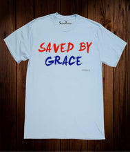 Saved By Grace Jesus Christ God's Love Christian Sky Blue T Shirt