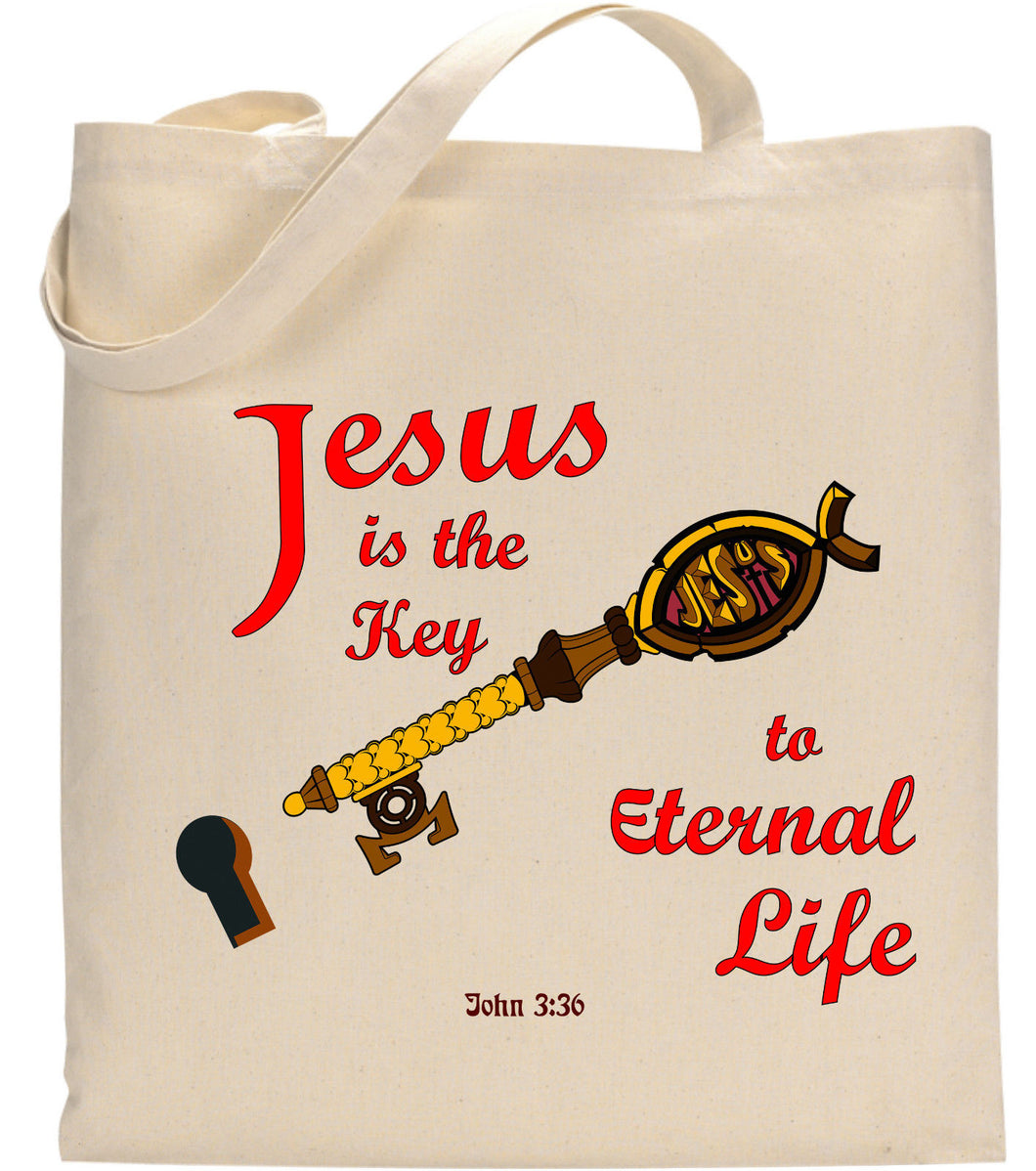 Jesus Christ is The Key To Eternal Life John 3:36 Christian Tote Bag