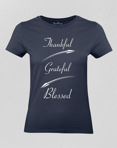 Christian Women T shirt Thankful Grateful Blessed