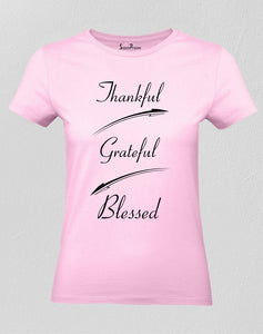 Christian Women T Shirt Thankful Blessed Tee