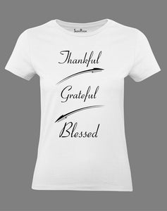 Christian Women T Shirt Thankful Blessed White tee