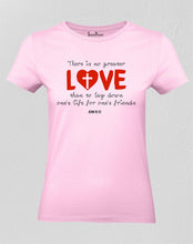 Christian Women T Shirt No Greater Love Pink tee