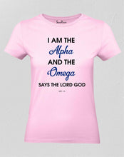 Christian Women T Shirt Alpha Omega Lord God Pink tee