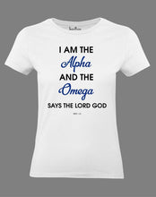 Christian Women T Shirt Alpha Omega Lord God White Tee