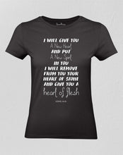 Christian Women T shirt A New Heart Of Flesh Black tee