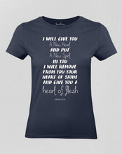 Christian Women T shirt A New Heart Of Flesh Navy tee