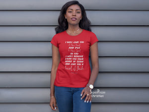 Christian Women T shirt A New Heart Of Flesh Red Tee