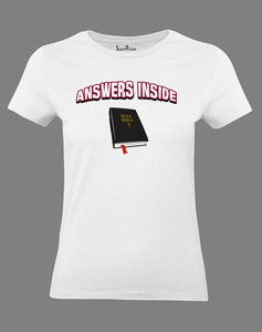 Answers Inside Christian Women T Shirt