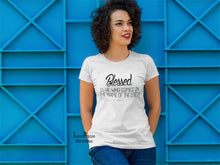 Women Christian T Shirt Blessed Prayer Jesus White Tee