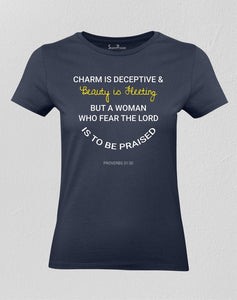 Christian Women T shirt The Lord is to be Praised Navy tee