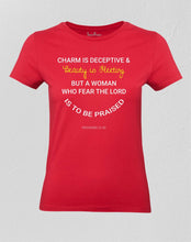 Christian Women T shirt The Lord is to be Praised Red Tee