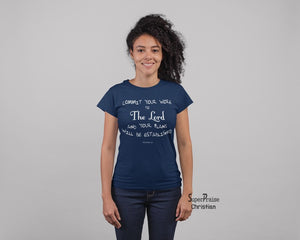 Christian Women T shirt Commit Your Work to the Lord God Navy tee
