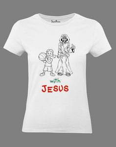 Happy with Jesus Women T Shirt