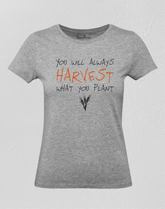 Christian Women T Shirt Harvest Your Plant Grey tee