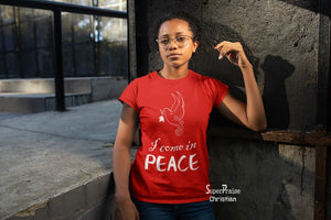 Christian Women T shirt I Come In Peace Symbol Teachings Gospel