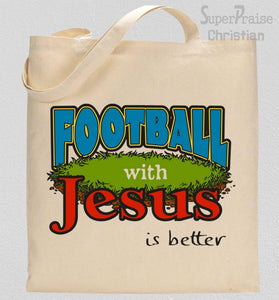 Jesus With Football Tote Bag