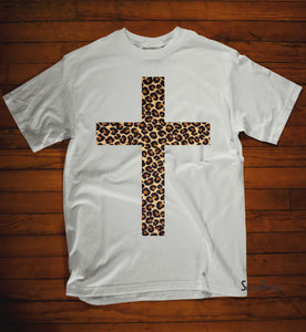 Leopard Print Jesus Cross T Shirt