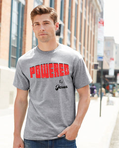 Powered By Jesus Slogan T Shirt