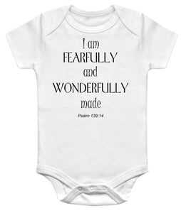 I am Fearfully And Wonderfully Made Psalm Christian Baby Bodysuit