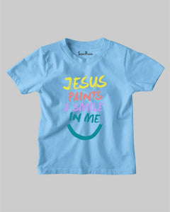 Jesus Paints A Smile In Me Jesus Faith Grace Christian Kids T Shirt