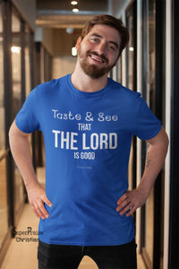 Men Christian T Shirt Taste and See Bible - Super Praise Christian