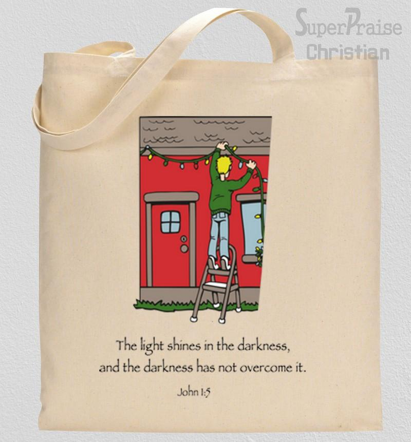 The Light Shines In The darkness Tote Bag