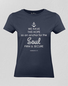 Christian Women T shirt Anchor for the Soul Navy Tee