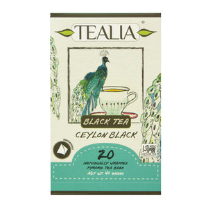 Tealia Ceylon Black 20 Pyramid Tea Bags in Envelop