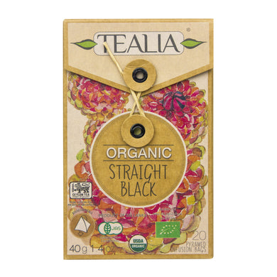 Tealia Organic Straight Black 20 Pyramid Tea bags