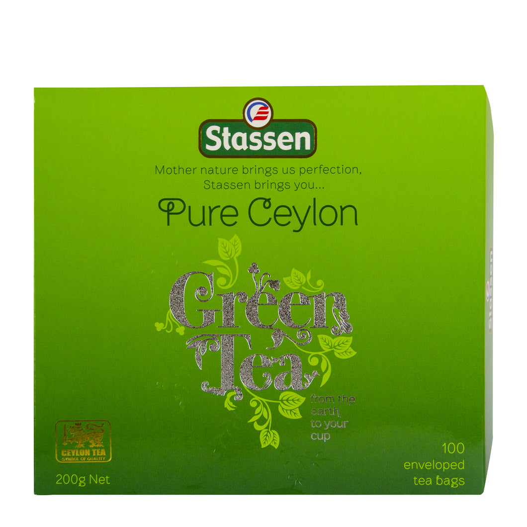 Stassen Pure Ceylon Green Tea 100 enveloped tea bags
