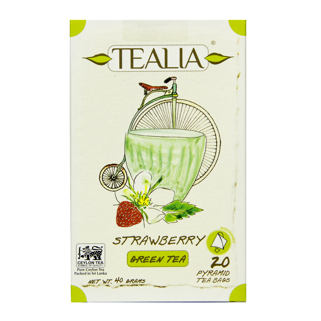 Tealia Strawberry flavoured Green tea 20 Pyramid Tea Bags