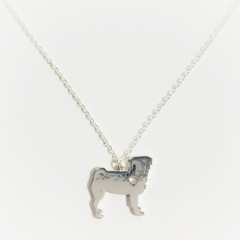 Silver Pug Necklace with Heart